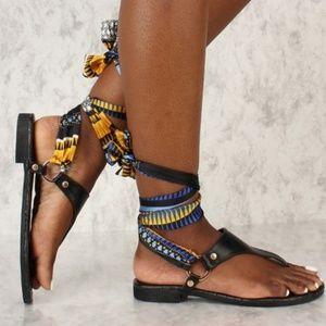 Black fabric tie up sandals